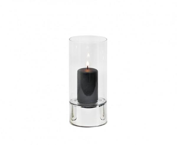 Windlicht Granada, Keramik silberfarben und Glas, Ø 9 cm, Höhe 20 cm