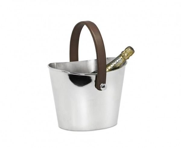 Eiseimer Gilbert Weinkühler mit braunem Ledergriff, Edelstahl glänzend vernickelt, Höhe 17 cm