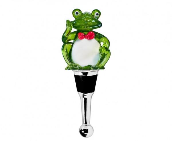Flaschenverschluss Frosch für Champagner, Wein und Sekt, Höhe 11 cm, Muranoglas-Art, Handarbeit