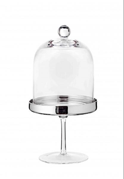 Bonboniere Glasdose Candy Bar auf Fuß Leos, mundgeblasenes Kristallglas mit Platinrand, Höhe 20 cm