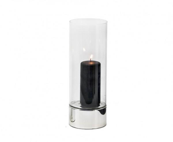 Windlicht Granada, Keramik silberfarben und Glas, Ø 9 cm, Höhe 25 cm