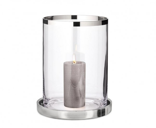 Windlicht Texas, mundgeblasenes Kristallglas mit Platinrand, Teller aus Edelstahl, H 40 cm, ø 28 cm