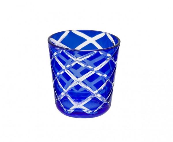 Kristallglas / Teelichthalter Dio, blau, handgeschliffenes Glas , Höhe 8 cm, Füllmenge 0,14 Liter