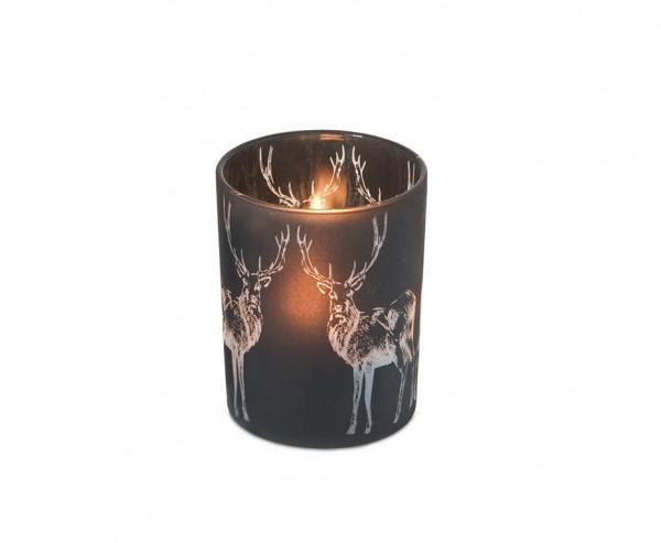 Windlichtlicht Hirsch H 13 cm