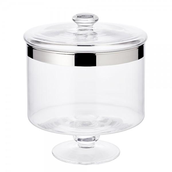 Bonboniere auf Fuss Erik, mundgeblasenes Kristallglas mit Platinrand, Höhe 19 cm
