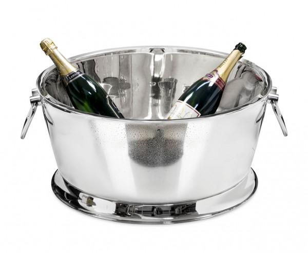 Champagnerkühler Michigan mit Griffen, Edelstahl hochglanzpoliert, doppelwandig, ø 53 cm, H 24 cm