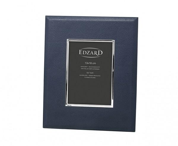 Fotorahmen Bert für Foto 13 x 18 cm, Lederoptik dunkelblau, edel versilbert, anlaufges., 2 Aufhänger