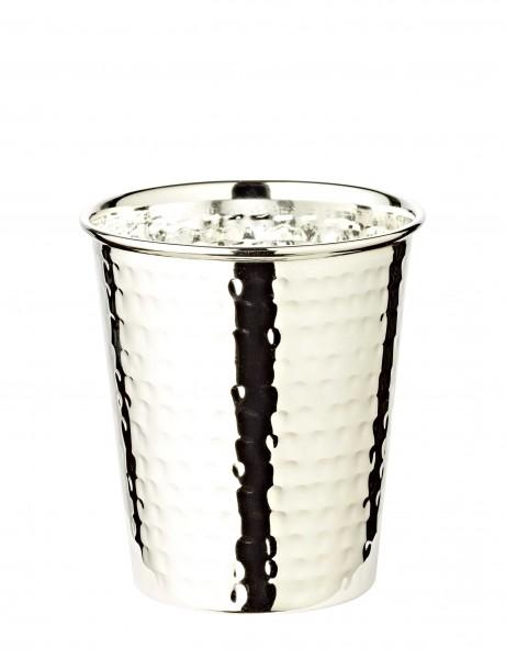 Silberbecher Trinkbecher Becher Mido, gehämmert, edel versilbert, Höhe 9 cm