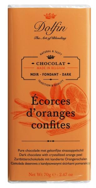 Dolfin Zartbitterschokolade mit kandierten Orangen