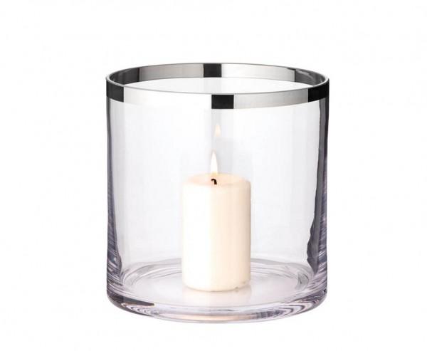 Windlicht Molly, mundgeblasenes Kristallglas mit Platinrand, Höhe 18 cm, Ø 18 cm
