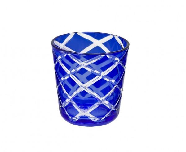 6er Set Kristallgläser Dio, blau, handgeschliffenes Glas , Höhe 8 cm, Füllmenge 0,14 Liter