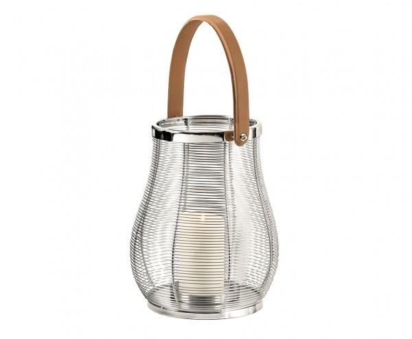 Laterne Irving, mit Glaseinsatz, Edelstahl glänzend vernickelt, Höhe 32 cm