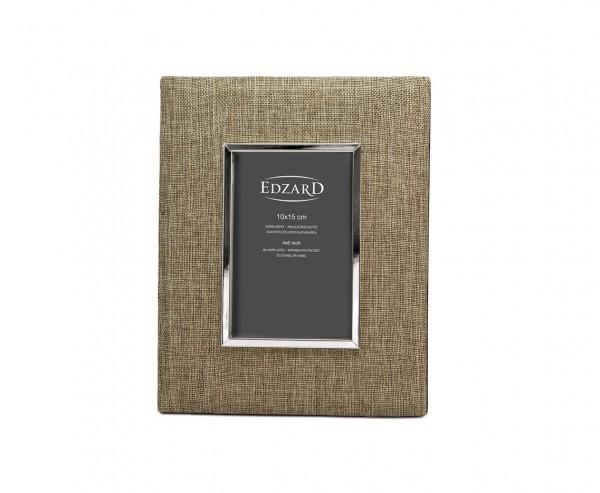 Fotorahmen Teramo für Foto 10 x 15 cm, Textil beige, edel versilbert, anlaufgeschützt, 2 Aufhänger