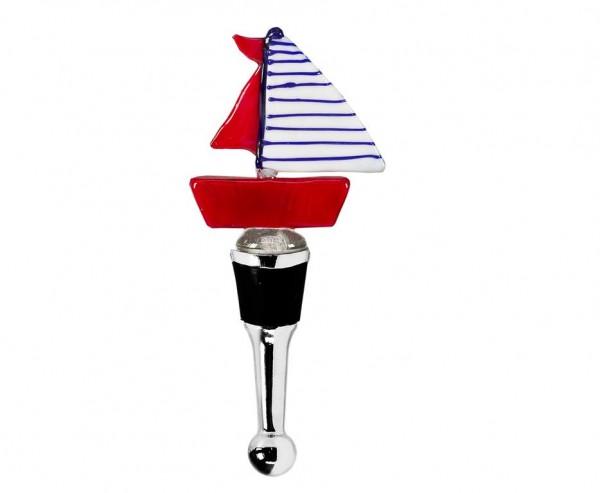 Flaschenverschluss Segelboot für Champagner, Wein und Sekt, Höhe 13 cm, Muranoglas-Art, Handarbeit