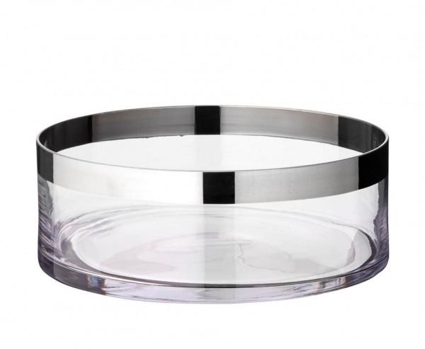 Schale Dekoschale Grit, mundgeblasenes Kristallglas mit Platinrand, Ø 25 cm