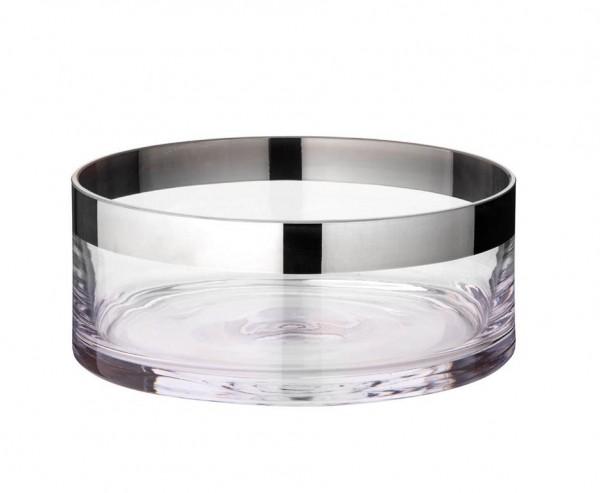 Schale Dekoschale Grit, mundgeblasenes Kristallglas mit Platinrand, Ø 20 cm