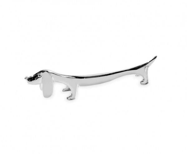 6er Set Messerbank Messerbänkchen Hund / Dackel, edel versilbert, anlaufgeschützt, Länge 9 cm