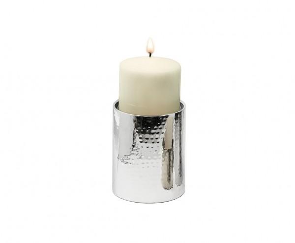 Kerzenständer York für Kerze Ø 10 cm, gehämmert, Edelstahl glänzend vernickelt, Höhe 15 cm