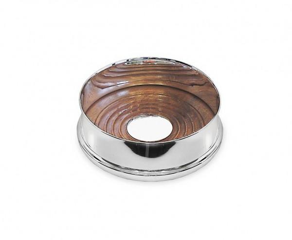 Flaschenuntersetzer Pero mit Holzboden, Echtsilber 925/000, Ø 13 cm