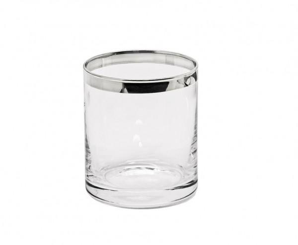 Windlicht Molly, mundgeblasenes Kristallglas mit Platinrand, Höhe 10 cm, Ø 8,5 cm