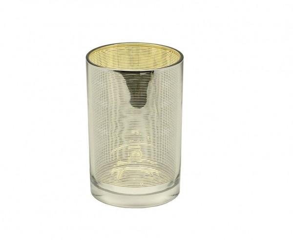 Teelichtglas Teelichthalter Teelicht Hauke, Glas, außen silber, innen gold, Höhe 18 cm