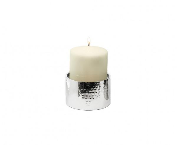 Kerzenständer York für Kerze Ø 10 cm, gehämmert, Edelstahl glänzend vernickelt, Höhe 10 cm