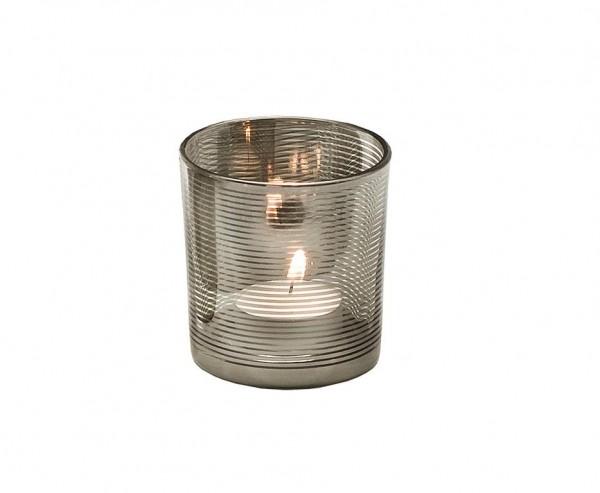 Teelichtglas Teelichthalter Teelicht Hauke, Glas, silber, Höhe 8 cm