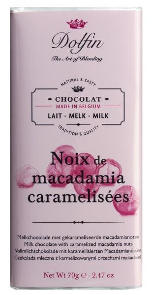 Dolfin Vollmilchschokolade mt karamellisierten Macadamianüssen