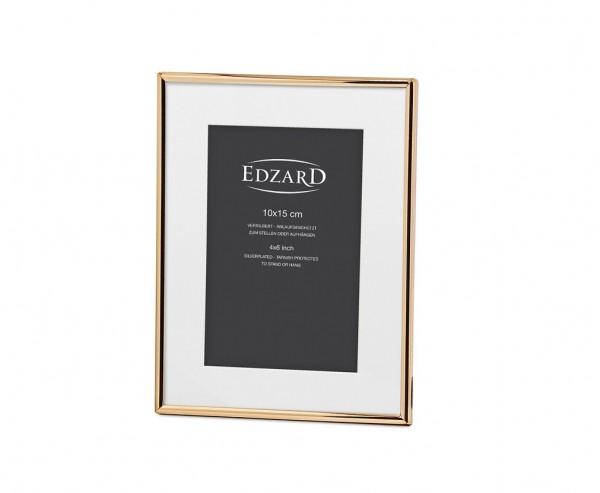 Fotorahmen Genua für Foto 10 x 15 cm, mit Passepartout, Metall, Gold-Optik, mit 2 Aufhängern