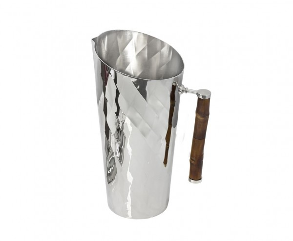 Krug Jana mit Bambusgriff, Edelstahl glänzend vernickelt, Höhe 25 cm, Füllmenge 1,8 Liter