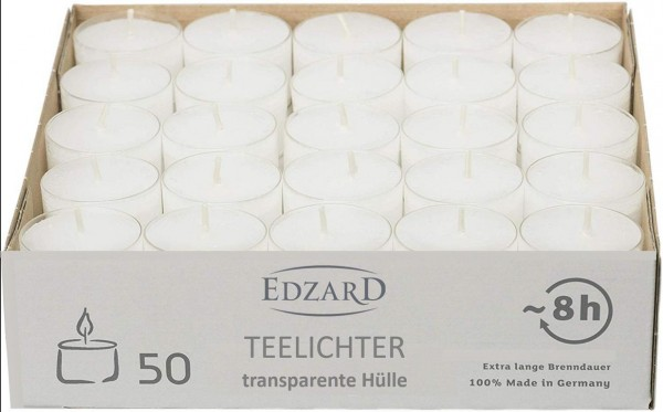 50 Stück WENZEL Nightlights Teelichtkerzen Teelichter , weiß, transparente Hülle, Brenndauer ca. 8 h