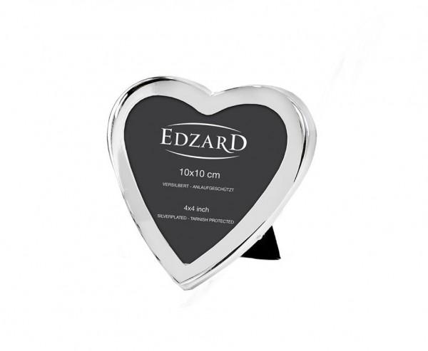 Fotorahmen Bilderrahmen Herz für Foto 10 x 10 cm, edel versilbert, anlaufgeschützt