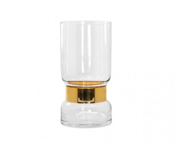 Vase Max, mundgeblasenes Kristallglas mit Platinrand, Höhe 30 cm, Ø 15 cm