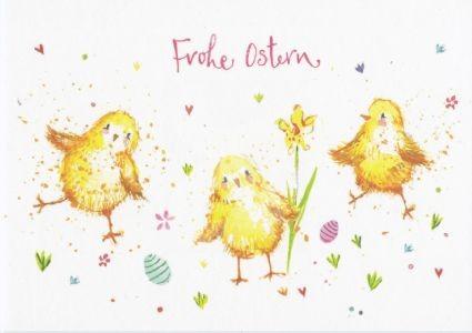 Frohe Ostern Kücken Kunstkarte