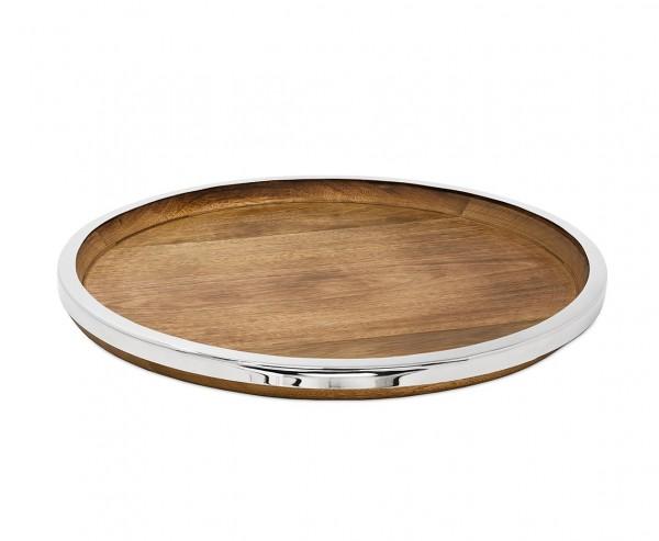 Tablett Serviertablett Cincinnati, Mangoholz und Edelstahl glänzend vernickelt, Ø 40 cm