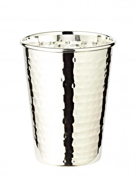 Silberbecher Trinkbecher Becher Mido, gehämmert, edel versilbert, Höhe 10 cm