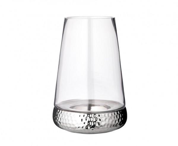 Windlicht Kerzenglas Bora, Hammerschlag Optik, Glas und Keramik, Höhe 34 cm