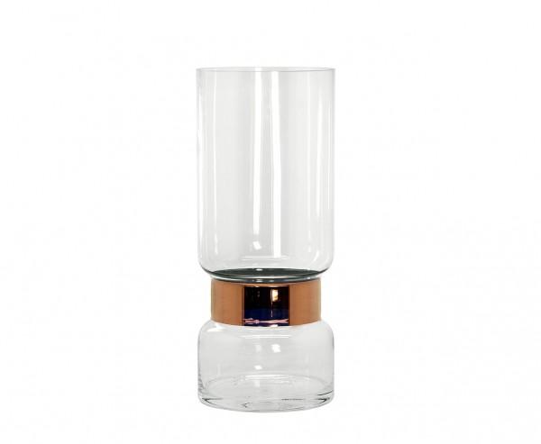 Vase Max, mundgeblasenes Kristallglas mit Platinrand, Höhe 43 cm, Ø 18 cm