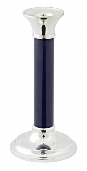 Kerzenleuchter Fiona mit dunkelblauem Schaft, edel versilbert, anlaufgeschützt, Höhe 15 cm