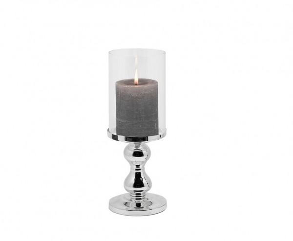 Windlicht Mascha, edel versilbert, anlaufgeschützt, Höhe 28 cm, für Kerzen bis Ø 10 cm