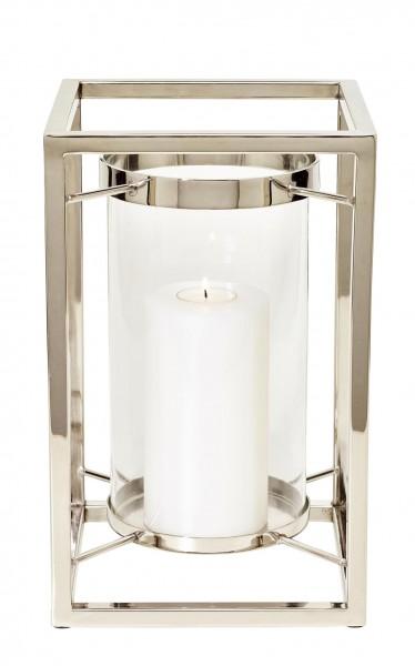 Windlicht Banu, Edelstahl vernickelt, mit Glas, Höhe 31 cm
