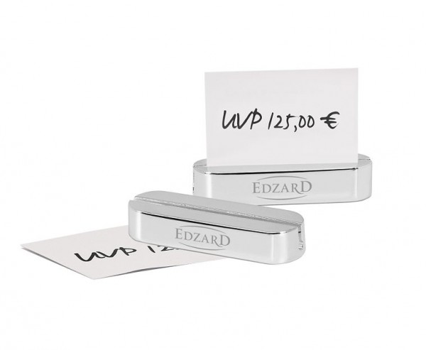 6 Stück Kartenhalter / Preisaufsteller mit Edzard Logo, versilbert, anlaufgeschützt, Länge 6 cm