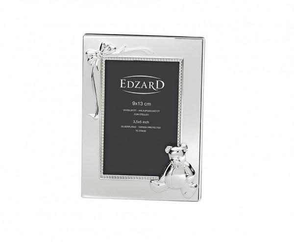 Fotorahmen Teddybär mit Schleife, für Foto 9 x 13 cm, edel versilbert, anlaufgeschützt