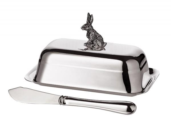 Butterdose Hase aufrecht, mit Glasplatte, edel versilbert, 8 x 13 cm, mit Buttermesser