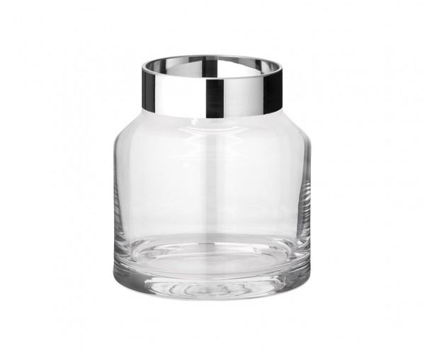 Vase Gabi, mundgeblasenes Kristallglas mit Platinrand, Höhe 19 cm, Ø 17 cm