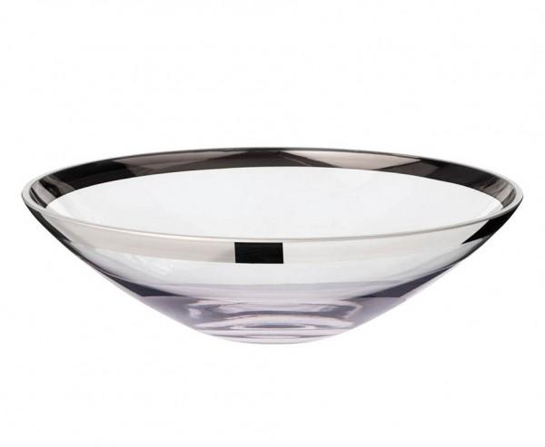Schale Dekoschale Cora, mundgeblasenes Kristallglas mit Platinrand, Ø 33 cm