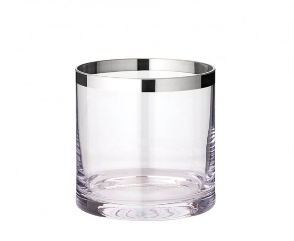Windlicht Molly, mundgeblasenes Kristallglas mit Platinrand, Höhe 15 cm, Ø 15 cm