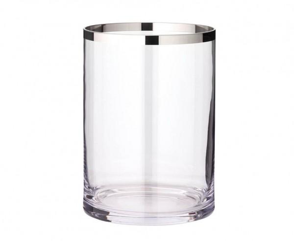 Windlicht Molly, mundgeblasenes Kristallglas mit Platinrand, Höhe 25 cm, Ø 18 cm
