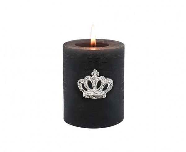 Kerzenpin Kerzenstecker Krone, Aluminium vernickelt, Höhe 4 cm
