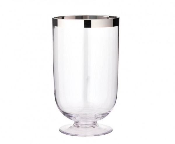 Windlicht Amy, mundgeblasenes Kristallglas mit Platinrand, Höhe 33 cm, Ø 19 cm